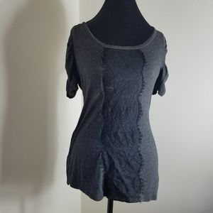 Maurices Gray Blouse With Lace Detailing Center